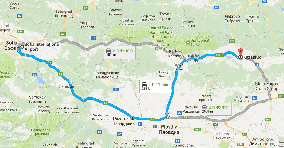 Directions from sofia to Kazanlak rose festival