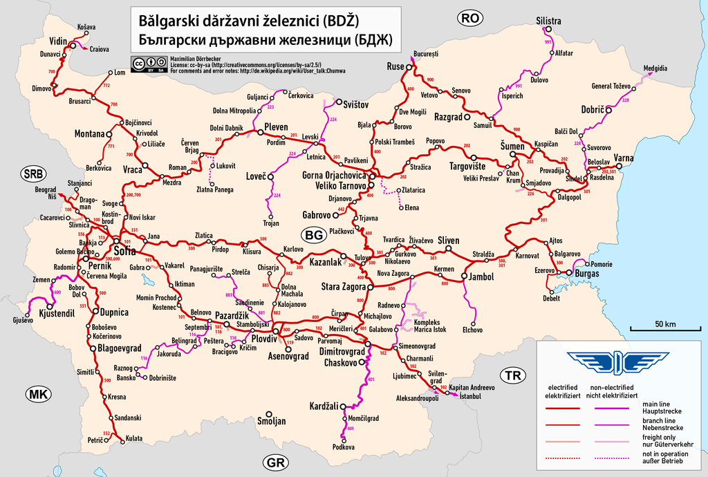Map of the Bulgarian railways
