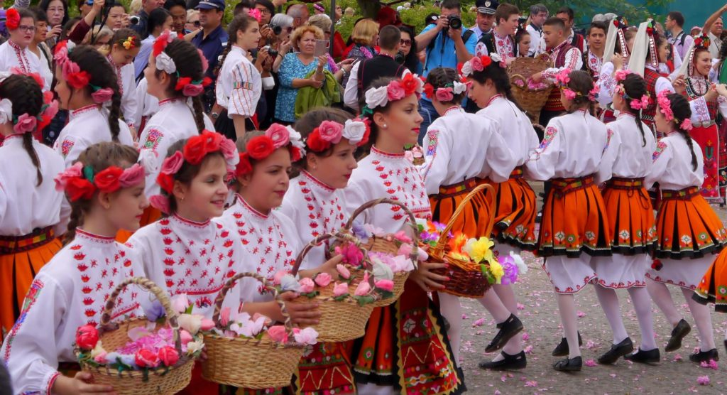 Rose festival in Bulgaria - In this picture: Folklore dancing during a rose-picking ritual in Kazanlak, Bulgaria