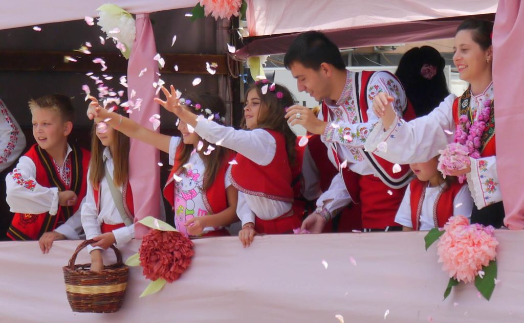 Children and rose petals during the rose parade in Kazanlak