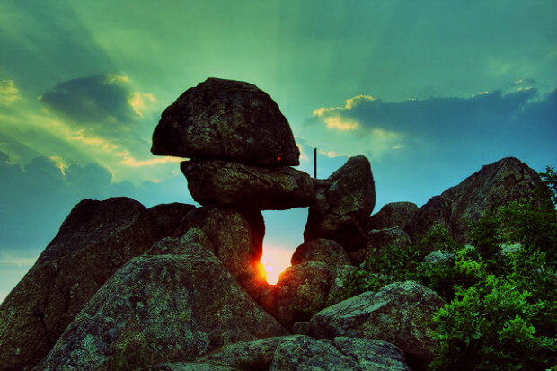 Sunset view of the Thracian shrine - megalith near Kazanlak