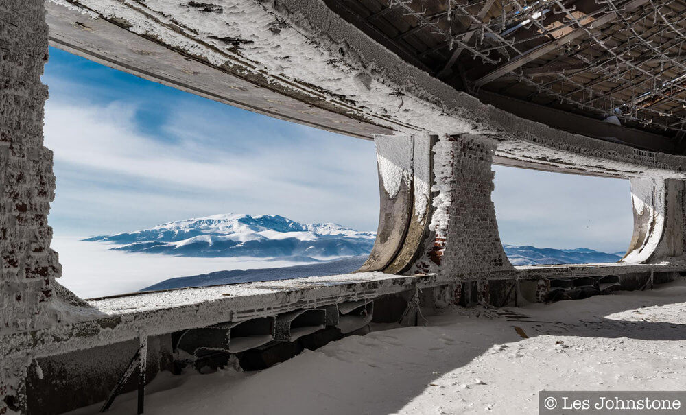 View from the terrace of the Soviet-era monolith Buzludzha during winter
