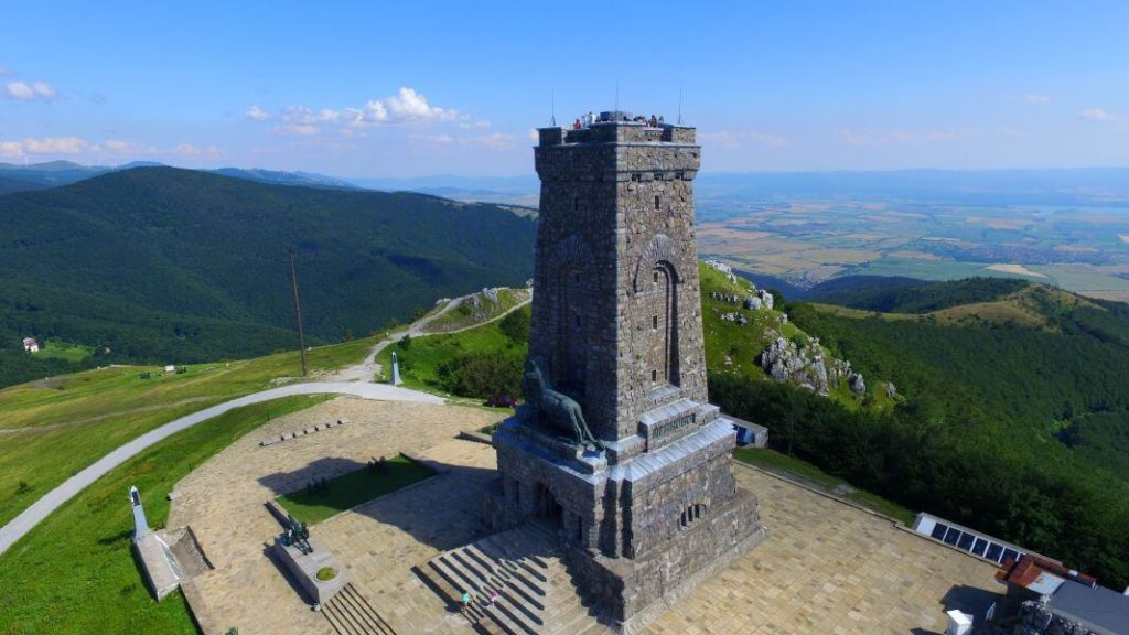 Aerial view of shipka peak - stoletov