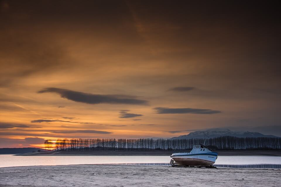 Amazing view of the sunset sky near Kazanlak, Koprinka Dam