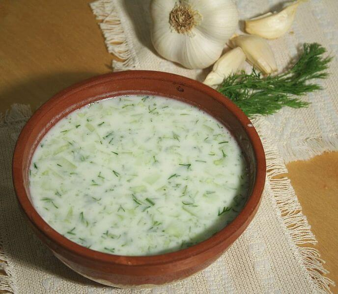 Cold soup made from yoghurt, cucumbers, garlic and dill