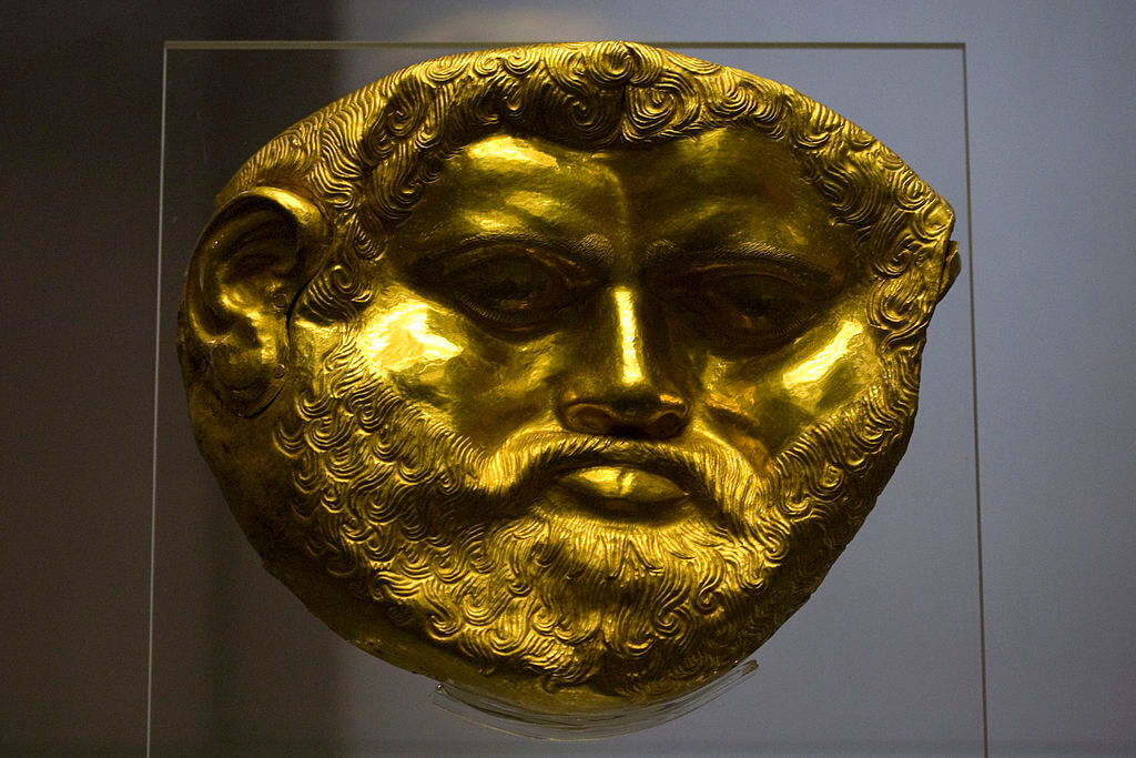 Golden mask discovered in a Thracian tomb in the valley of Thracian Kings north of Kazanluk